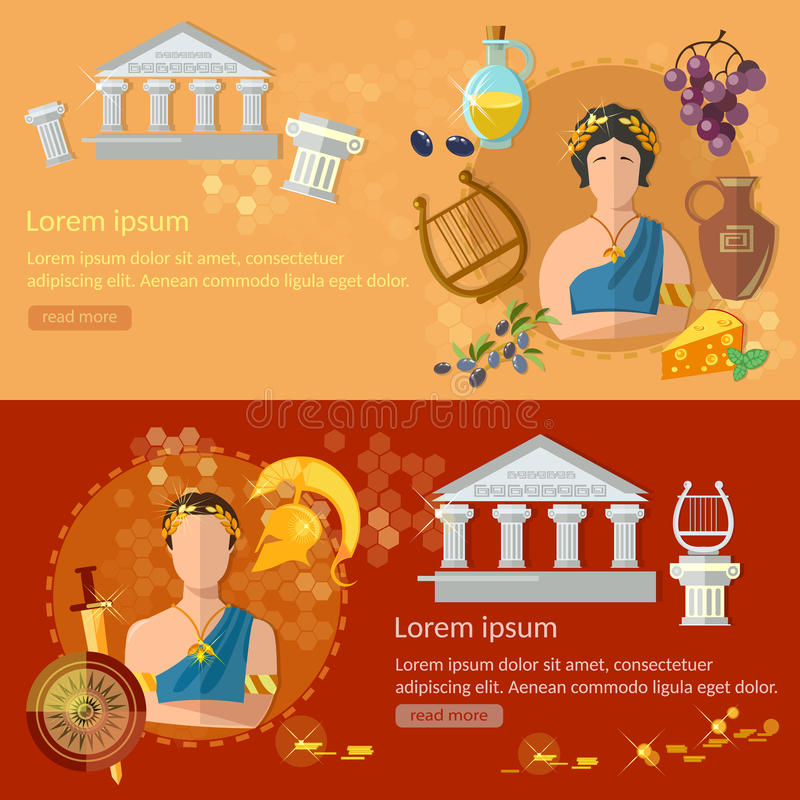 Insegne tradizione e cultura di Grecia antica e di Roma antica illustrazione di stock