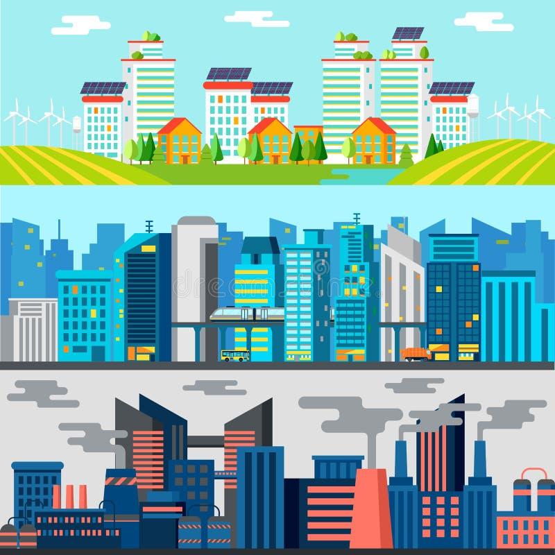Insegne variopinte di orizzontale di paesaggio urbano royalty illustrazione gratis
