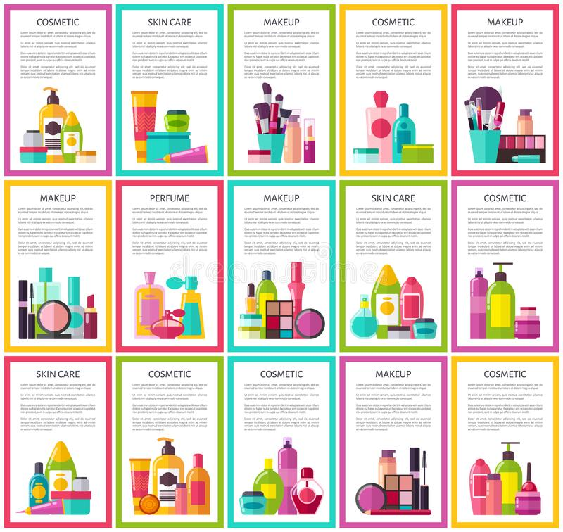 Insegne variopinte di pelle di cura del profumo cosmetico di trucco illustrazione di stock