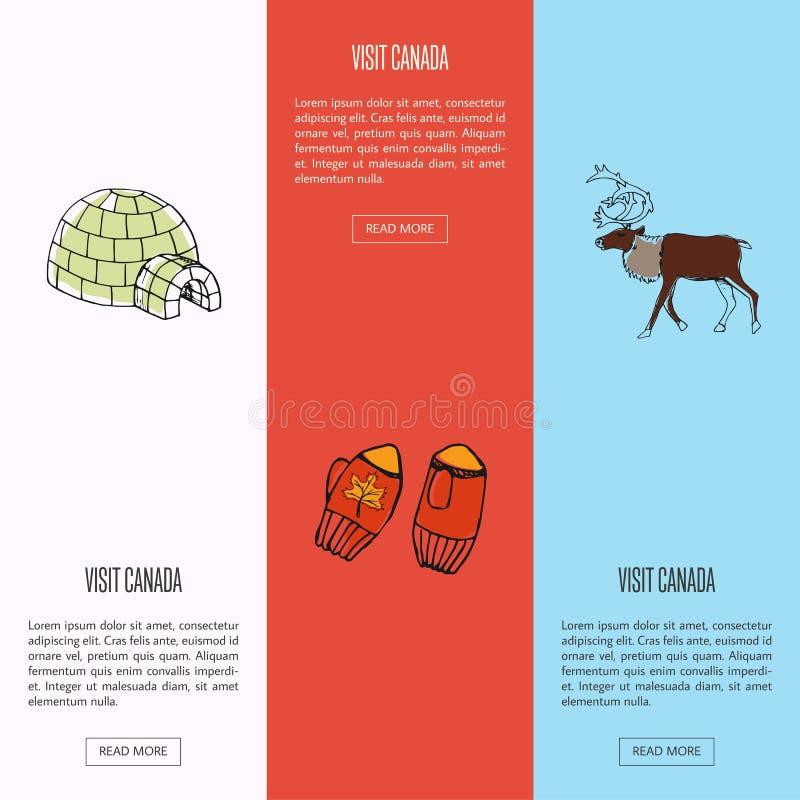 Insegne variopinte turistiche di web del Canada di visita messe royalty illustrazione gratis
