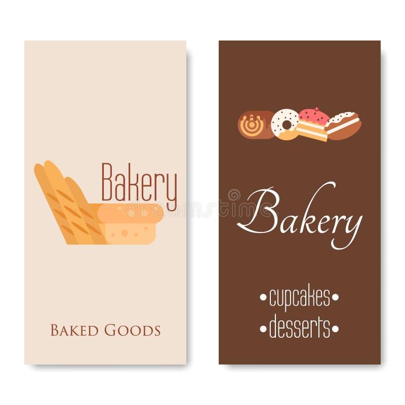 Insegne verticali del forno Cuocere, pane e dolci Vettore piano illustrazione vettoriale