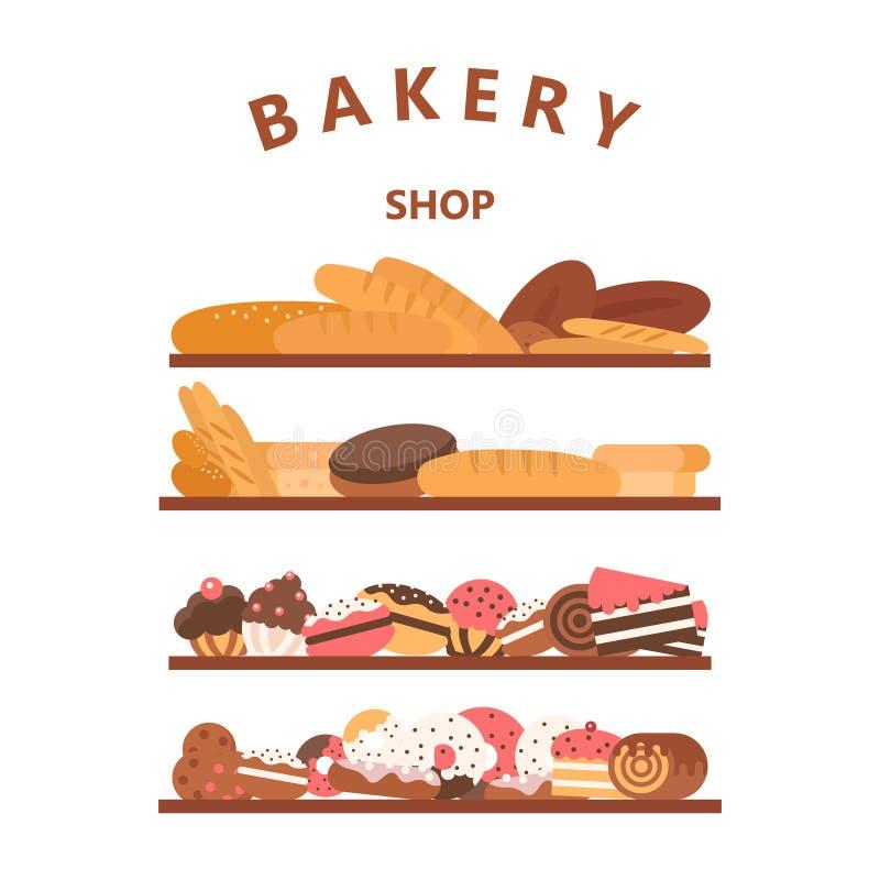Insegne verticali del forno Cuocere, pane e dolci Vettore piano illustrazione di stock