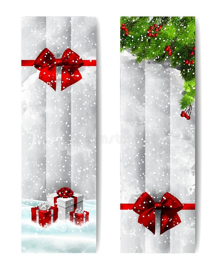 Insegne verticali dell'acquerello di Natale royalty illustrazione gratis