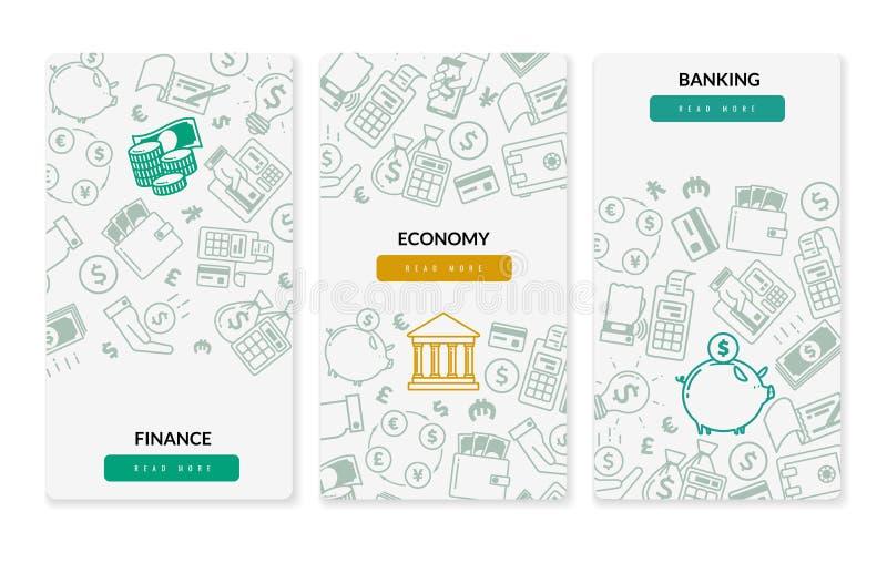 Insegne verticali delle icone di attività bancarie di finanza Tre insegne verticali su fondo bianco illustrazione vettoriale