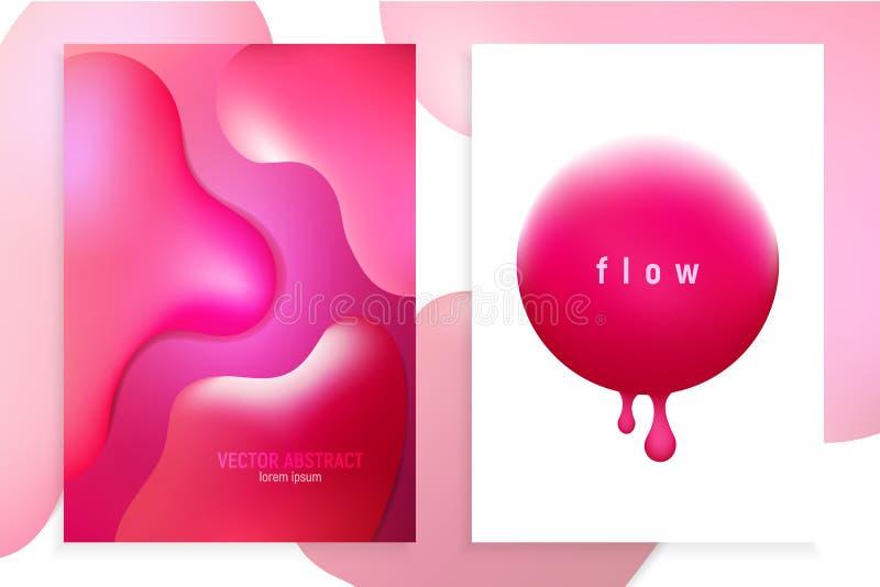 Insegne verticali messe con fondo astratto 3D con flusso rosa di moto di onda, forme fluide di pendenza Progettazione futuristica illustrazione di stock