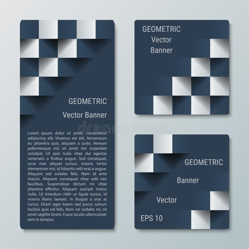 Insegne verticali rettangolari e quadrate geometriche con l'effetto 3D per il sito Web di affari illustrazione di stock