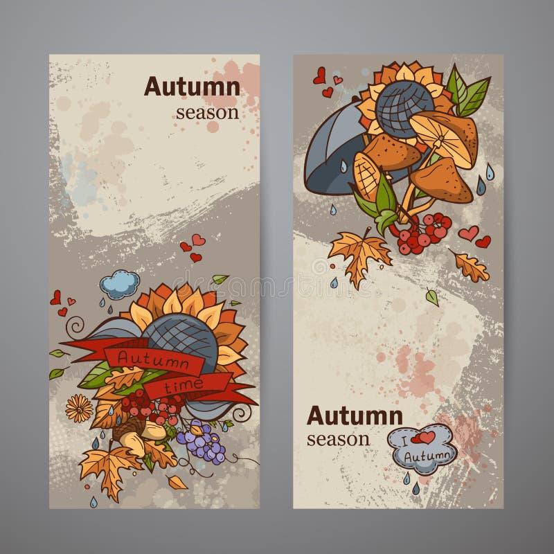 Insegne verticali stabilite dello scarabocchio colorato di autunno illustrazione vettoriale