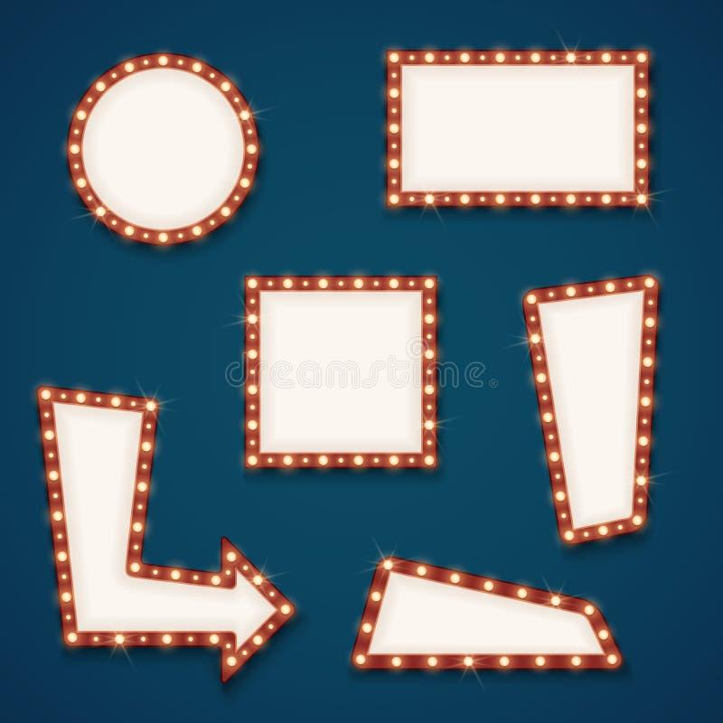 Insegne vuote dei segni della retro luce della strada con l'insieme di vettore delle lampadine illustrazione vettoriale