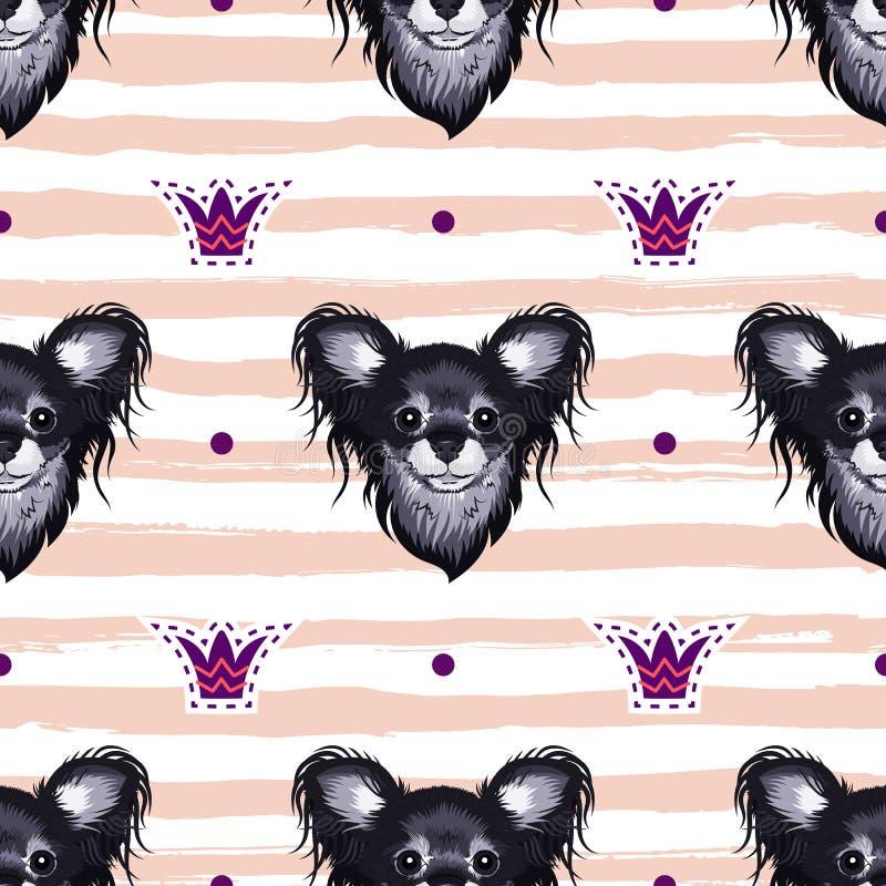 Insegua il modello senza cuciture, teste dei cuccioli su un fondo a strisce Cani affascinanti svegli, illustrazione di vettore royalty illustrazione gratis