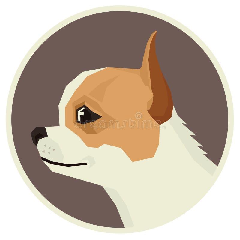Insegua l'icona geometrica dell'avatar di stile della chihuahua della raccolta rotonda illustrazione di stock