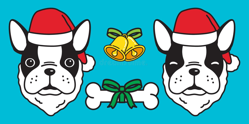 Insegua l'illustrazione del personaggio dei cartoni animati di vacanza invernale di logo dell'icona della campana dell'osso di Sa illustrazione di stock