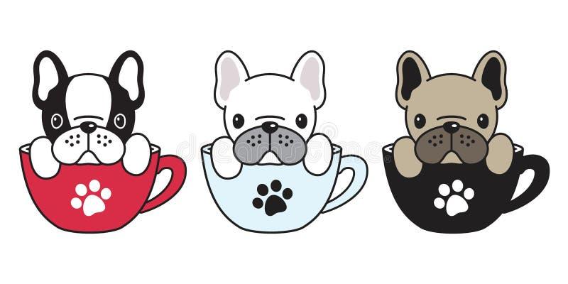 Insegua la tazza di caffè dell'osso di cane dell'illustrazione del personaggio dei cartoni animati del carlino del bulldog france illustrazione di stock