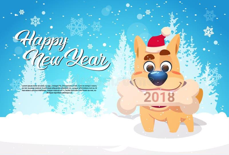 Insegua in Santa Hat Holding Bone With 2018 cedono firmando un documento l'insegna di Forest Happy New Year Greeting dell'inverno illustrazione vettoriale