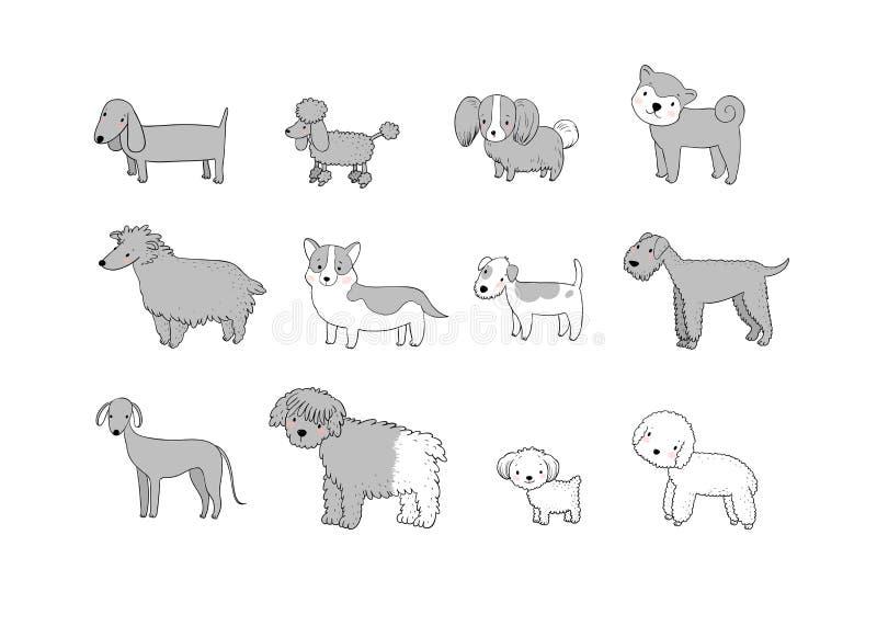 Insegue la raccolta Cuccioli svegli del fumetto delle razze differenti - vettore royalty illustrazione gratis