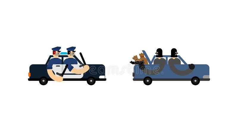 Inseguimento del volante della polizia volante della polizia che insegue ladro Ufficiali di polizia contro i ladri illustrazione di stock