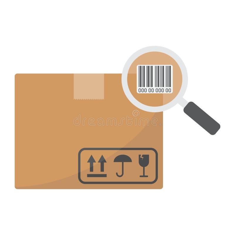 Inseguimento dell'icona piana del pacchetto, logistico e consegna illustrazione vettoriale