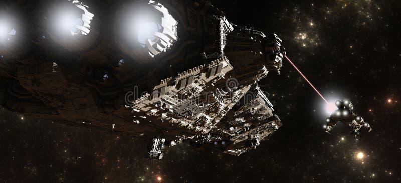 Inseguimento interstellare della nave da guerra royalty illustrazione gratis