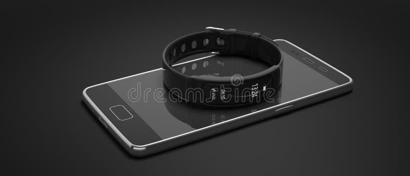 Inseguitore di forma fisica, orologio astuto e telefono cellulare isolati su fondo nero illustrazione 3D illustrazione di stock