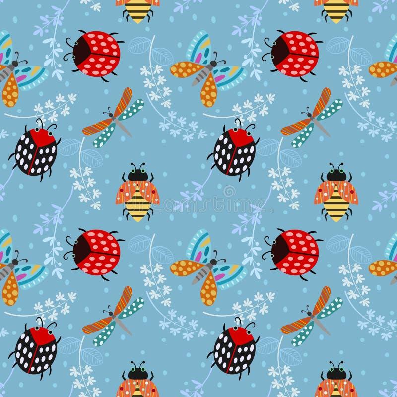 Insekt damy pluskwy motyli bezszwowy deseniowy tło royalty ilustracja