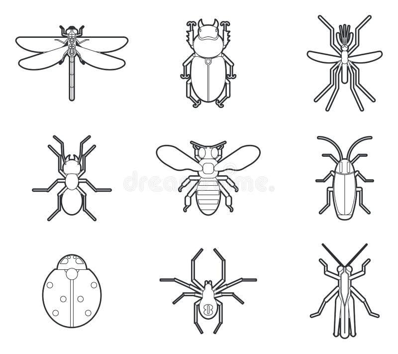 Insekt ikon wektoru mono kreskowy set ilustracja wektor
