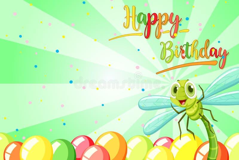Insekt na urodzinowym szablonie royalty ilustracja