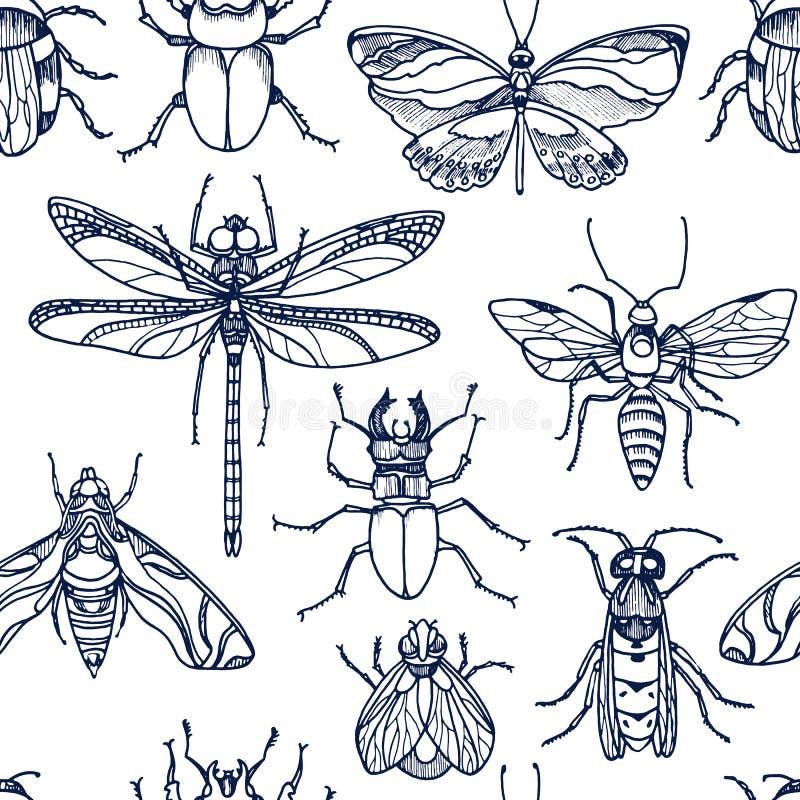 insekt Pszczoła, pluskwa, ćma, dutterfly kresk?wki serc biegunowy setu wektor royalty ilustracja