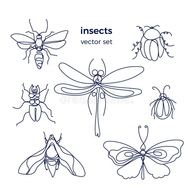 insekt Pszczoła, pluskwa, ćma, dutterfly kresk?wki serc biegunowy setu wektor ilustracji