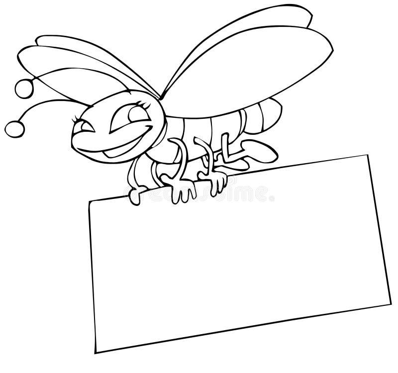 Insekt und Plakat lizenzfreie abbildung