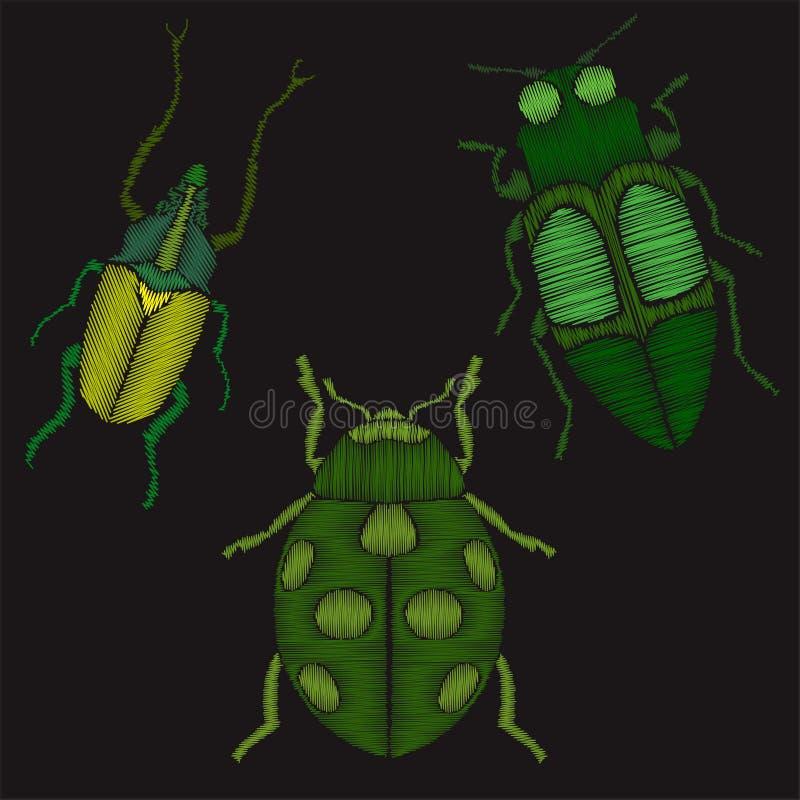 Insekt ustawiająca hafciarska imitacja ilustracja wektor