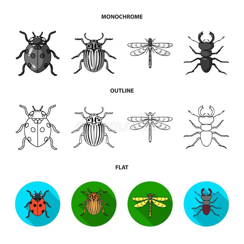 Insekt, Wanze, Käfer, Tatze Insekten stellten Sammlungsikonen in der Ebene, Entwurf, einfarbige Artvektorsymbol-Vorratillustratio vektor abbildung