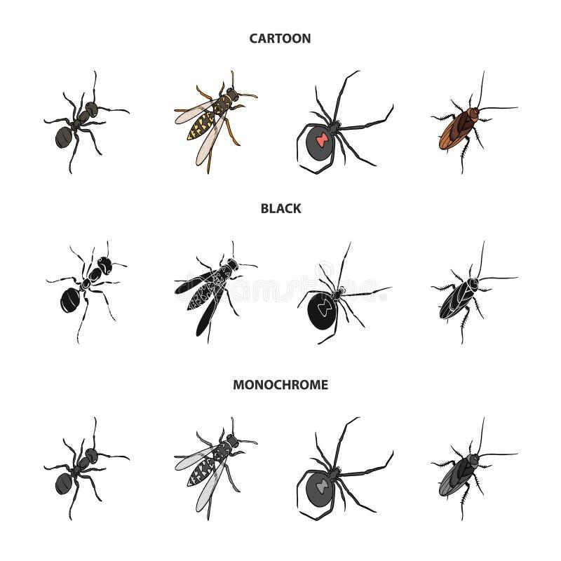 Insekta członkonóg, osa, pająk, karakan Insekt ustawiać inkasowe ikony w kreskówce, czerń, monochromu styl ilustracja wektor