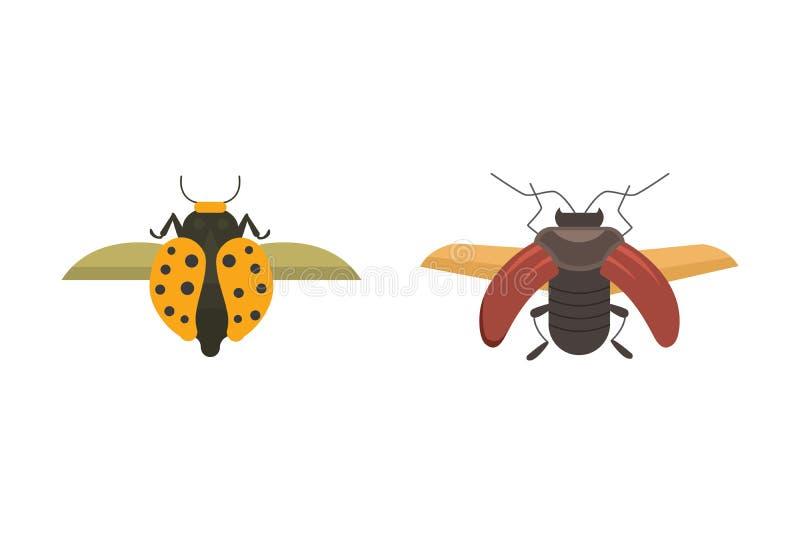 Insekta mieszkania stylu projekta wektorowe ikony Inkasowa natury ścigi i zoologii kreskówki ilustracja Pluskwy ikony przyroda ilustracja wektor