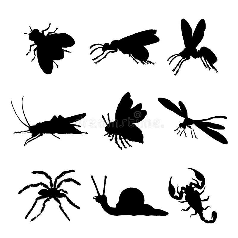 Insekten-Tierikonen-Ebene lokalisierte schwarze Schattenbild-Wanze Ant Butterfly Spider Vector lizenzfreie abbildung