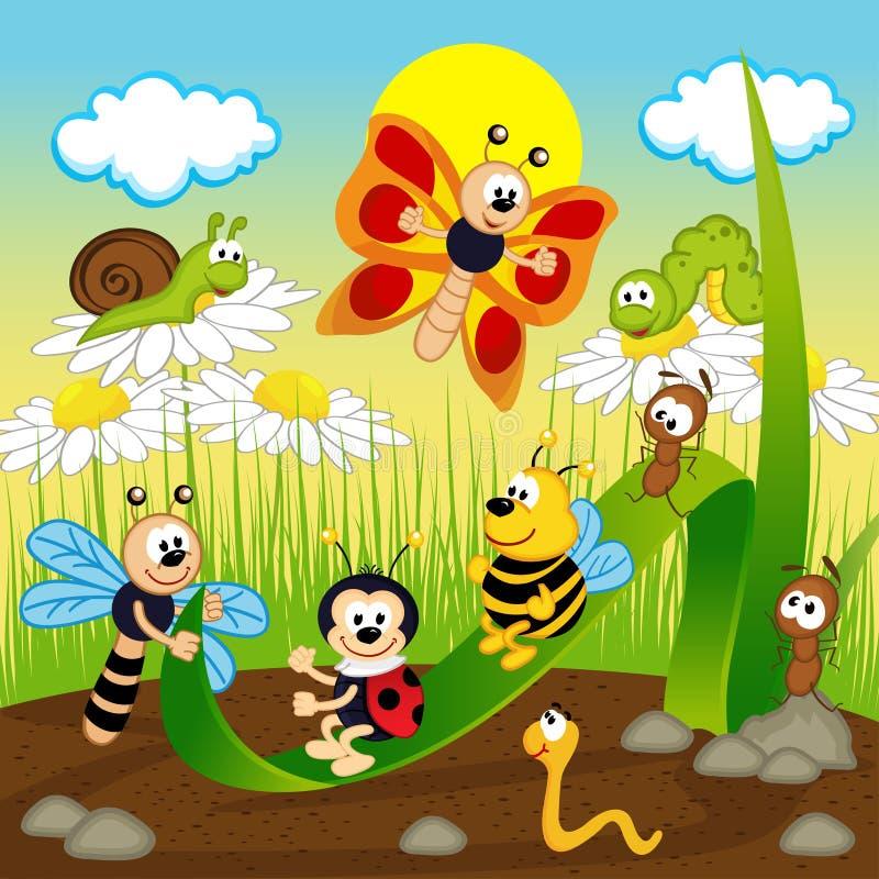 Insektenfahrt auf Blatt - Vektorillustration stock abbildung