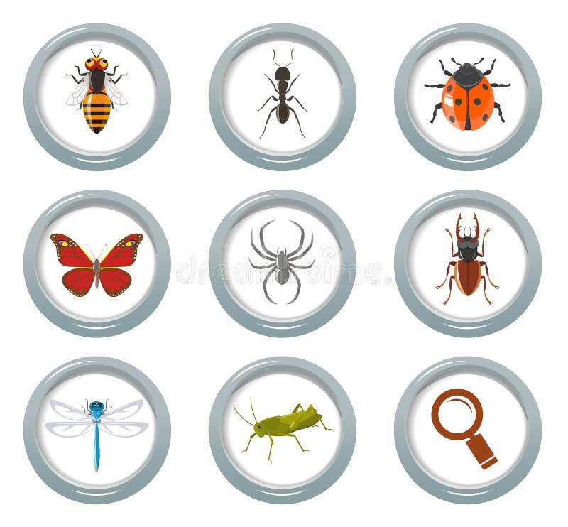 Insektenikonen eingestellt stock abbildung