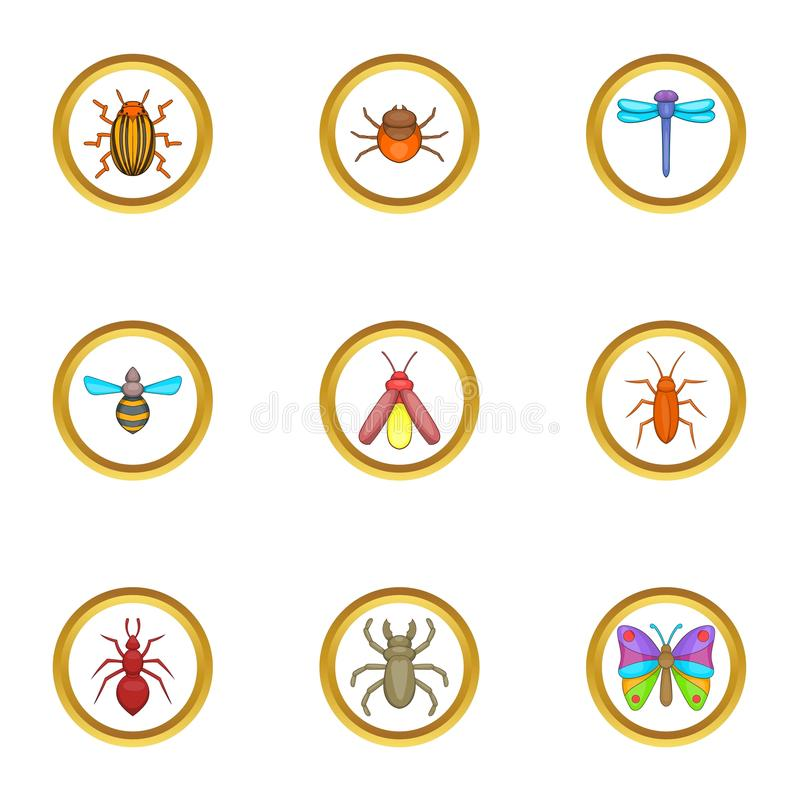 Insektenikonen eingestellt, Karikaturart stock abbildung