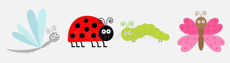 Insektenikonen-Satzlinie Marienkäfer, Libelle, Schmetterling und Gleiskettenfahrzeug Nettes Karikatur kawaii lustiger Charakter F stock abbildung
