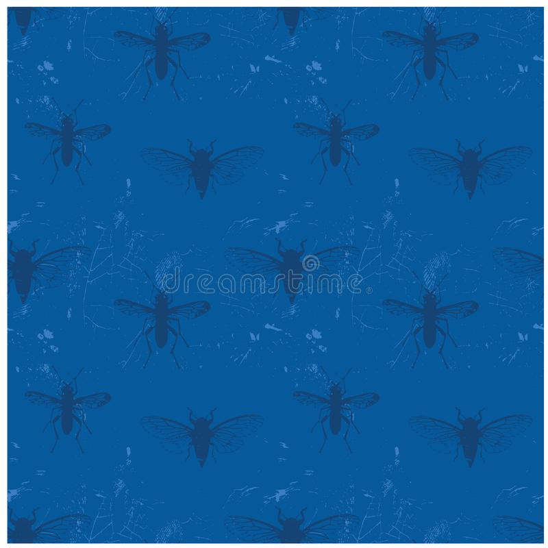 Insektenweltweinlese getragenes heraus nahtloses Muster lizenzfreie abbildung