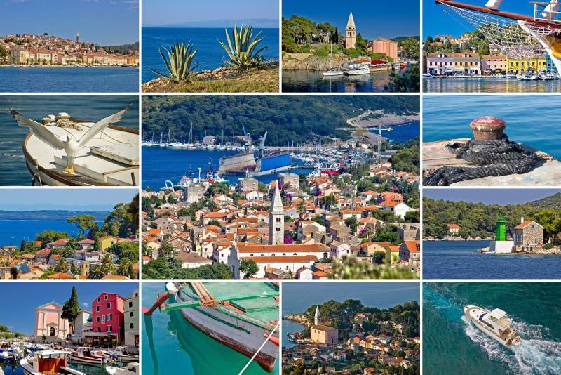 Insel der touristischen Bestimmungsortcollage Losinj stockfotos