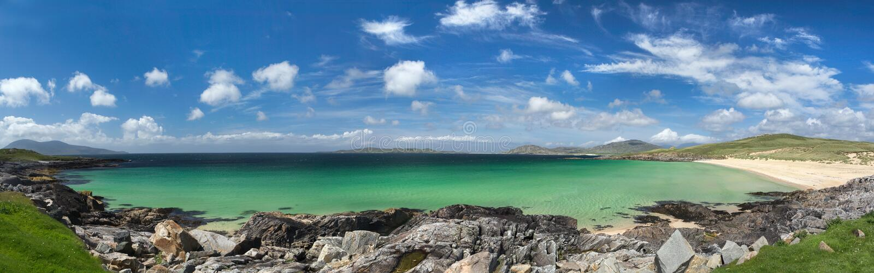Insel des Harris-Strandpanoramas lizenzfreie stockfotografie