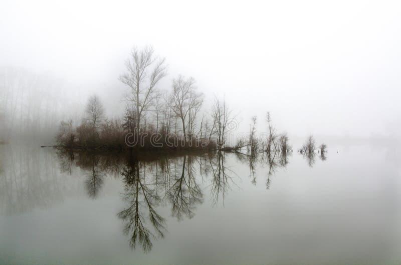 Insel im Nebel lizenzfreie stockbilder