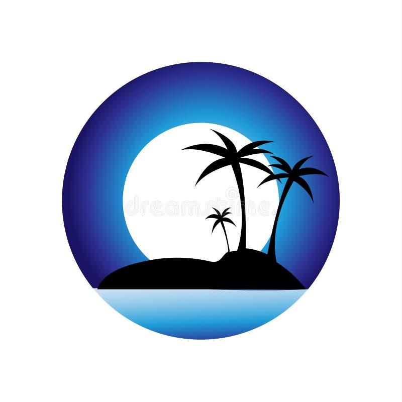 Insel im Ozean, touristische Reise, Palmen, Sonnenuntergang Trauminsel im Ozean Vektorbild der Insel Reisekranke lizenzfreie abbildung