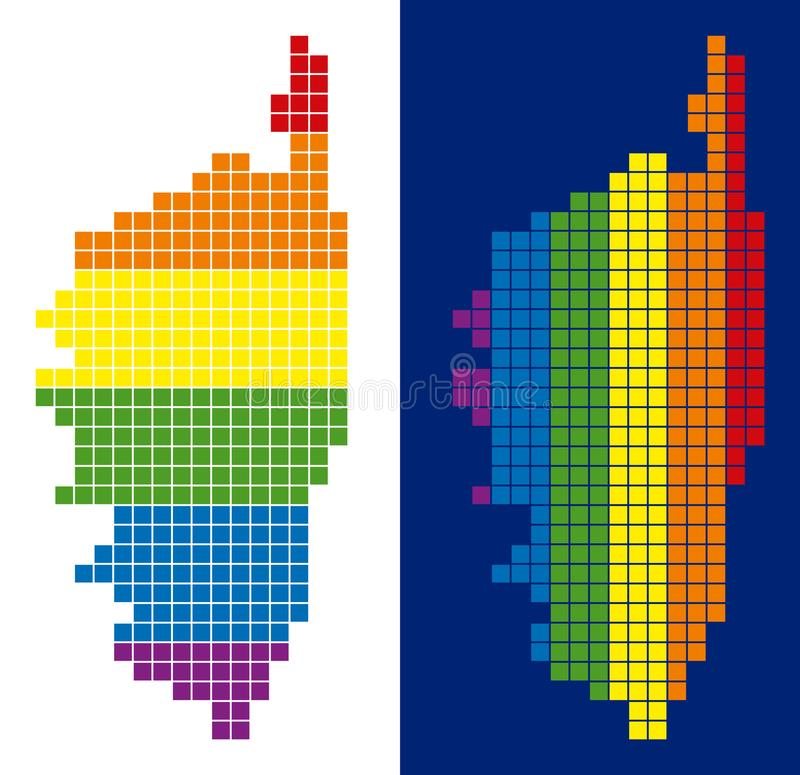 Insel-Karte Spektrum-Pixel punktierte Korsikas Frankreich stock abbildung