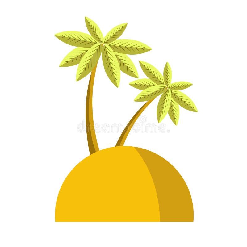 Insel mit der Palmenikonen-Vektorillustration lokalisiert auf weißem Hintergrund vektor abbildung