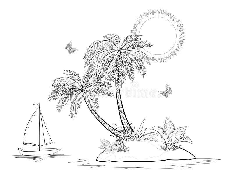 insel mit palme schiff und schmetterlingen vektor abbildung illustration von segelboot. Black Bedroom Furniture Sets. Home Design Ideas