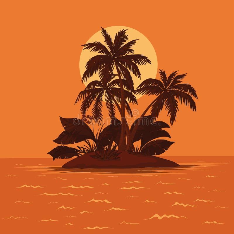 Insel mit Palme und Sonne stock abbildung
