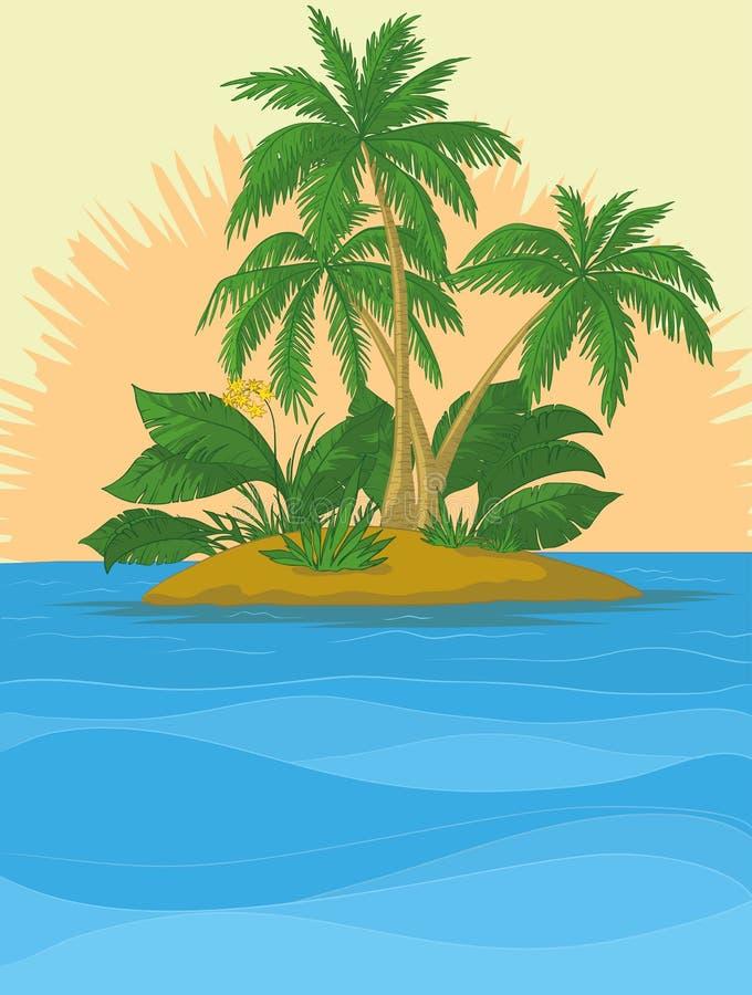 insel mit palme und sonne vektor abbildung illustration von betrieb 21707743. Black Bedroom Furniture Sets. Home Design Ideas
