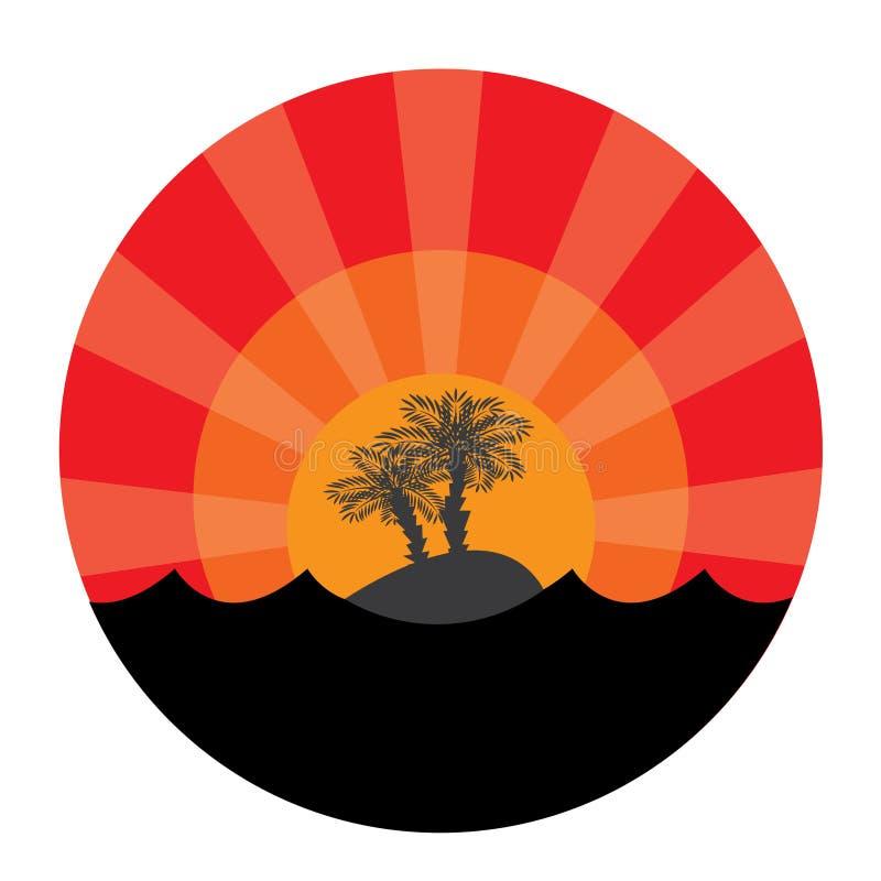 Insel mit zwei Palmebäumen am Sonnenunterganghintergrund vektor abbildung