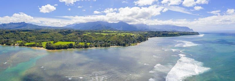 Insel-Panoramablick-Strand-Tal-Gebirgsozean Kauais Hawaii stockfotos