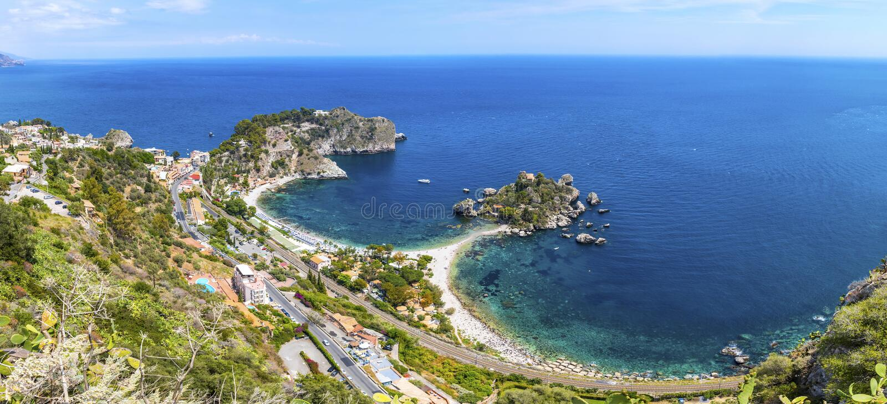 Insel und Strand Isola Bella in Taormina, Sizilien, Italien lizenzfreies stockbild